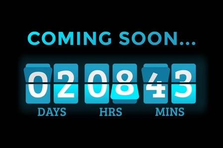 Countdown klok cijfers boord panelen timer. Website timer teller. Verkoop binnenkort geopend. Nieuw jaar, Kerstmis timer verkoop.