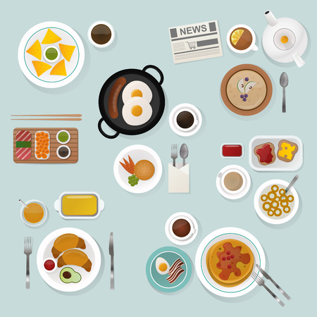 wood table: Breakfast flat top view set. Breakfast icons silhouette illustrations. Breakfast from different countries. Breakfast vector food illustration. Food and drinks. Breakfast silhouette vector. Breakfast isolated on background