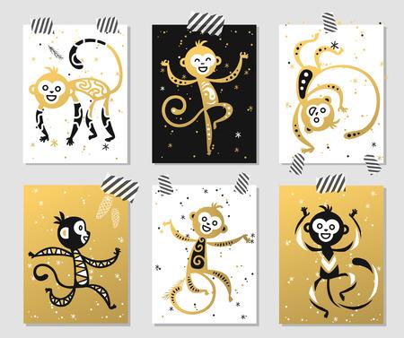 nowy: Chiński Nowy Rok ikona małpa wektor dekoracji kulki. 2016 nowy rok małpa Chiński styl. Szczęśliwego Nowego Roku wektor małpa Chiny Monkey Ball. Chiński ilustracji wektorowych małpa. Małpa złota, biały ikona Ilustracja