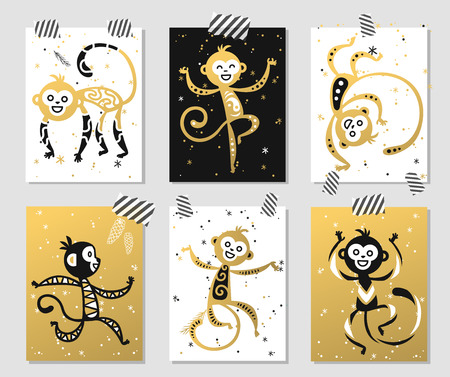 decoration: Chinese New Year monkey vector decoration ball icon. 2016 new year monkey chinese style. Happy monkey vector New Year China monkey ball. Chinese Monkey vector illustration. Monkey gold, white icon Illustration