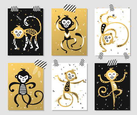 japan pattern: Chinese New Year monkey vector decoration ball icon. 2016 new year monkey chinese style. Happy monkey vector New Year China monkey ball. Chinese Monkey vector illustration. Monkey gold, white icon Illustration
