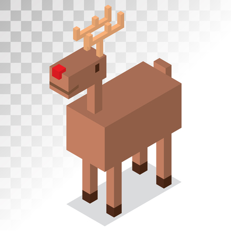 deer cartoon: Santa Claus cartoon Christmas deer 3d isometric icon. Reindeer vector 3d pixel art game illustration. Deer animal icon isolated. Reindeer vector symbol. Reindeer pixel art. Deer icon isolated on white Illustration
