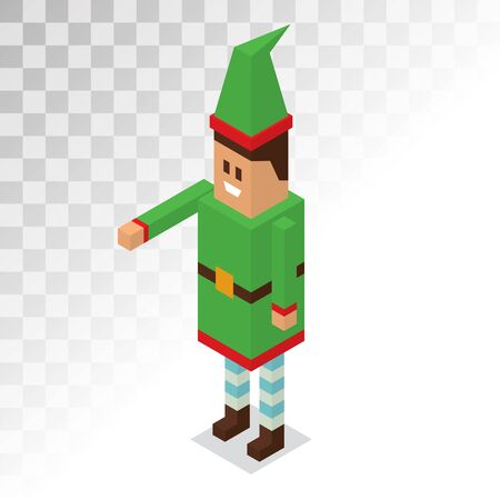 helpers: Santa Claus boy helper cartoon elf vector 3d isometric pixel art illustration. Santa Claus elf helper kid isolated. Santa helpers traditional costume. Santa family elfs isolated on white. Santa Claus elf, christmas kids. Christmas icon
