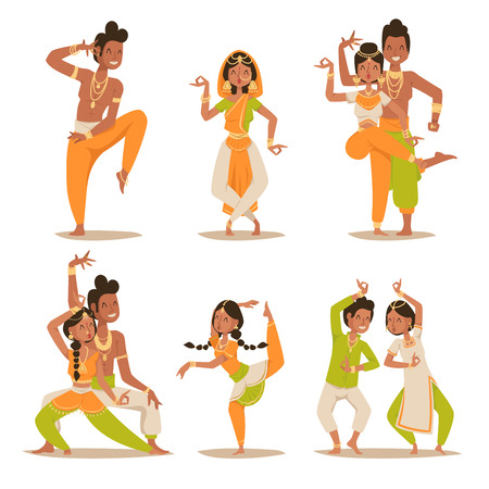 Indian women and man dancing vector isolated. Indian dancers vector silhouette. Indian cartoon dancers diferrent pose icons. Indian people dancing on white background. India, dance, show, party, movie, cinema, cartoon Vettoriali