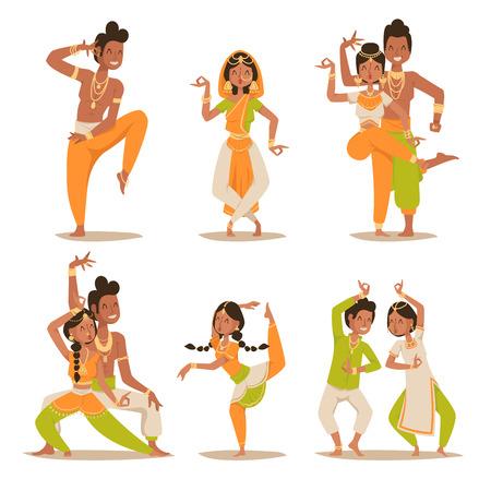 persone che ballano: le donne indiane e un uomo che balla vettore isolato. danzatori indiani vettoriale silhouette. ballerini animati indiani diferrent pongono icone. popolo indiano che balla su sfondo bianco. India, danza, spettacolo, festa, film, cinema, fumetto