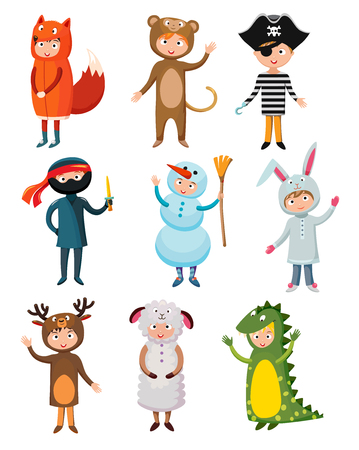 Kids different costumes isolated vector illustration. Dragon, crocodile, sheep and deer. Snowman, bear, ninja, rabbit and fox, pirate. Kids costume vector isolated. Children party costume collection. Kids costume collection