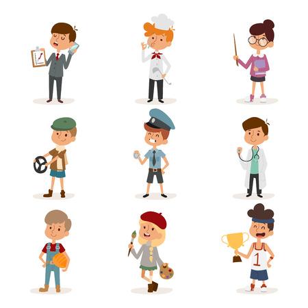Set of cute cartoon professions kids. Painter, sportsman, cook chef, builder, policeman, doctor, artist, driver, businessman. Funny cartoon boys kids. Professions kids children vector set. Vector illustration of professions kids Illustration