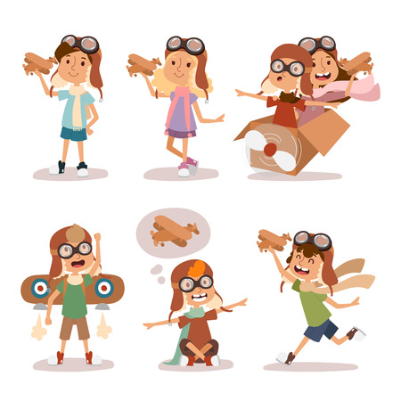 Small cartoon vector kids playing pilot aviation. Kids dreaming concept. Childhood vector kids playing games. Cartoon boys and girls playin like pilots. Plane, kids, children, play, jump, Kids dreams Illustration