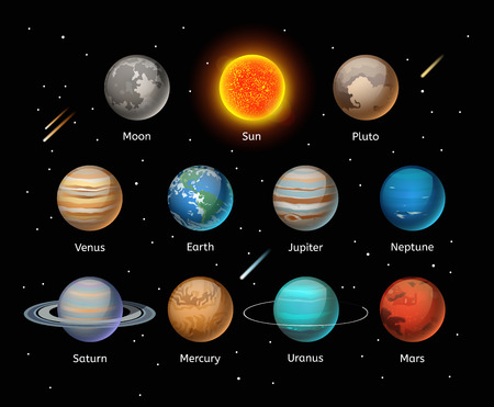 cartoon earth: Planets colorful vector set on dark background, Planet vector set. Planet icons 3d infographic elements. Planets collection silhouette. Planets illustration vector 3d icons