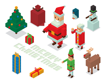 happy people white background: Santa Claus, Missis Claus, helpers family isometric 3d  icons vector illustration. Santa Claus, Missis Claus, deer, snowman, elf boy cartoot. Christmas 3d pixel art traditional costume Santa Claus family. Santa Claus family icons