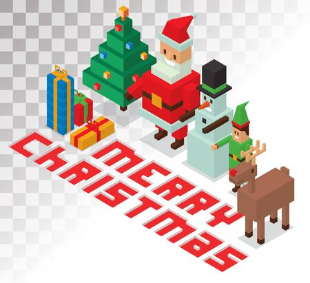 helpers: Santa Claus, Missis Claus, helpers family isometric 3d  icons vector illustration. Santa Claus, Missis Claus, deer, snowman, elf boy cartoot. Christmas 3d pixel art traditional costume Santa Claus family. Santa Claus family icons