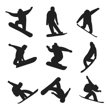 saltando: Snowboarder salto diferente pose negro, blanco iconos fondo blanco. personas snowboard trucos. trucos snowboarder. trucos de snowboard especiales aisladas en white.Snowboard ilustración vectorial trucos. Snowboarder aislado