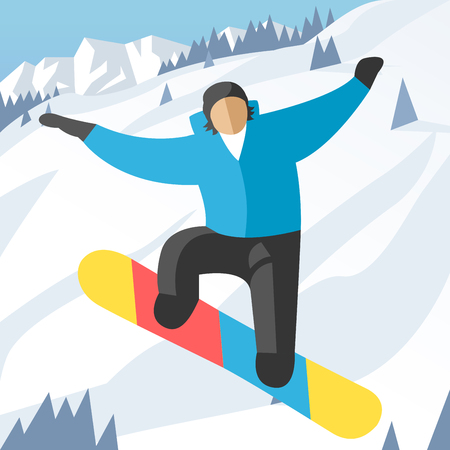 man jumping: Snowboarder jumping pose on winter outdoor background. Snowboard people tricks. Snowboarder tricks. Special snowboard tricks isolated silhouette. Snowboard tricks vector illustration. Snowboarder jumping