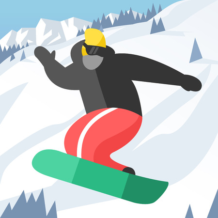 snowboarder: Snowboarder jumping pose on winter outdoor background. Snowboard people tricks. Snowboarder tricks. Special snowboard tricks isolated silhouette. Snowboard tricks vector illustration. Snowboarder jumping