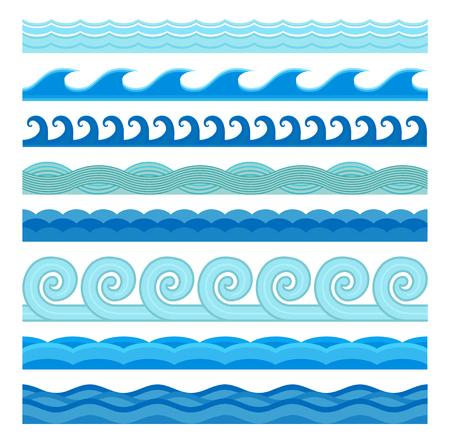 Golven vlakke stijl vector naadloze iconen collectie. Golf iconen op een witte achtergrond. Wave iconen set. Wave naadloze patroon blauwe kleur afbeelding. Wave iconen. Verschillende zeewater golf aard ontwerp elementen