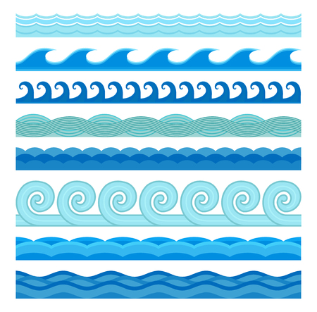 Waves flat style vector seamless icons collection. Wave icons isolated on white background. Wave icons set. Wave seamless pattern blue color illustration. Wave icons isolated. Different sea water wave nature design elements Illustration