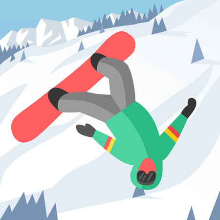 snowboarder jumping: Snowboarder jumping pose on winter outdoor background. Snowboard people tricks. Snowboarder tricks. Special snowboard tricks isolated silhouette. Snowboard tricks vector illustration. Snowboarder jumping