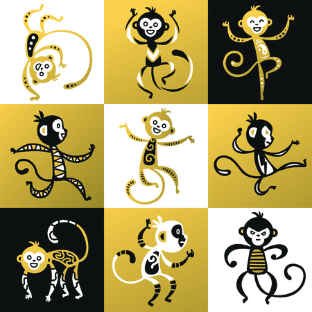 chinese calligraphy character: Chinese New Year monkey vector decoration icons. 2016 new year monkey cartoon chinese style. Happy monkey vector for New Year China design. Chinese Monkey vector illustration. Monkey black, white icon Illustration