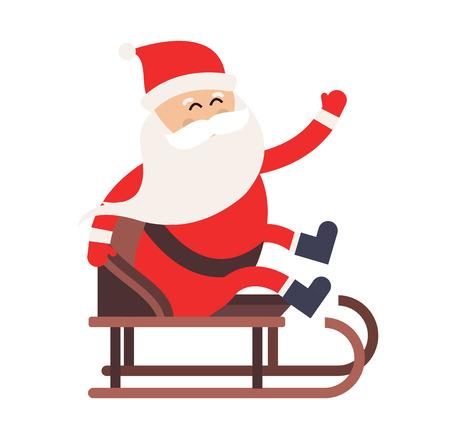 santa sack: Cartoon Santa Claus driver sled delivery illustration. Santa Claus drive sled isolated. Santa sack vector, Santa cloth, Santa red hat, Santa sledge. Santa Claus vector cartoon active sport
