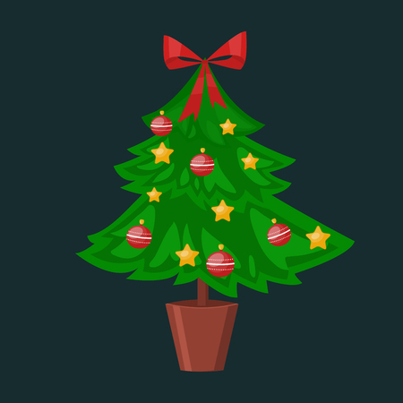 christmass tree: Christmas tree pot flat design vactor icon isolated on dark. Christmas tree vector. New Year tree isolated. Christmas tree vector illustration. New Year tree silhouette. Christmas decoration, balls, tree, green tree
