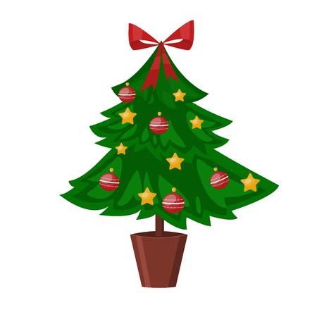 christmass tree: Christmas tree pot flat design vactor icon isolated on white. Christmas tree vector. New Year tree isolated. Christmas tree vector illustration. New Year tree silhouette. Christmas decoration, balls, tree, green tree