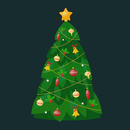 vactor: Christmas tree flat design vactor icon isolated on dark. Christmas tree vector. New Year tree isolated. Christmas tree vector illustration. New Year tree silhouette. Christmas decoration, balls, tree, green tree Illustration