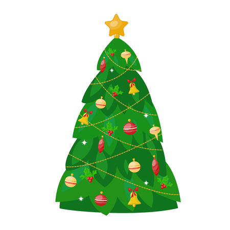 vactor: Christmas tree flat design vactor icon isolated on white. Christmas tree vector. New Year tree isolated. Christmas tree vector illustration. New Year tree silhouette. Christmas decoration, balls, tree, green tree