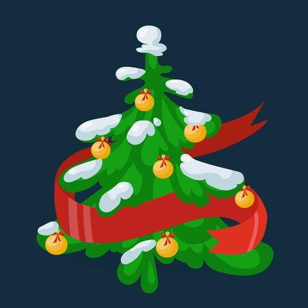 christmass tree: Christmas tree flat design vactor icon isolated on dark. Christmas tree vector. New Year tree isolated. Christmas tree vector illustration. New Year tree silhouette. Christmas decoration, balls, tree, green tree Illustration