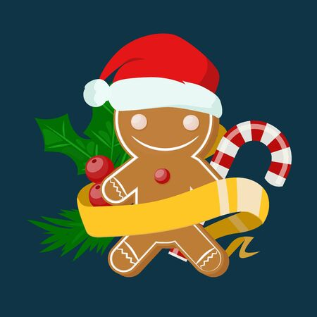 Christmas sweet cake boy in Santa red hat flat design vactor icon isolated. Christmas cake vector. New Year tree decoration cake man. Christmas tree cake man illustration. New Year cake man. Christmas decoration, balls, tree