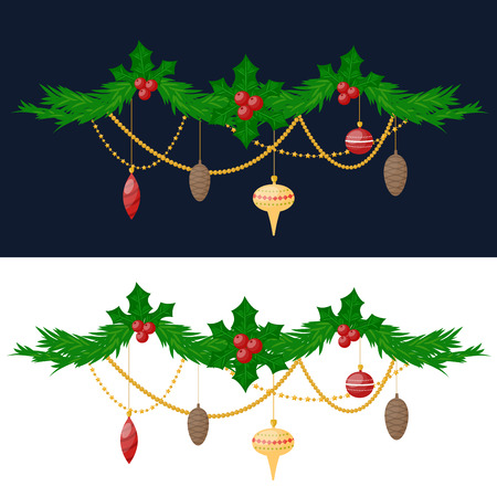 vactor: Christmas tree twig with toys flat design vactor icon isolated on white. Christmas twig tree. New Year tree twig. Christmas tree twig vector illustration. New Year tree twig silhouette. decoration balls