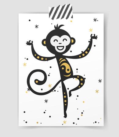 jumping monkeys: Chinese New Year monkey vector decoration ball icon. 2016 new year monkey chinese style. Happy monkey vector New Year China monkey ball. Chinese Monkey vector illustration. Monkey gold, white icon Illustration