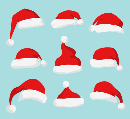 Santa Claus red hat silhouette. Santa hat, Santa red hat isolated on background. Santa hat. New Year 2016 santa red hat. Santa head hat vector. Santa Christmas hat decoration. Santa face hat vector