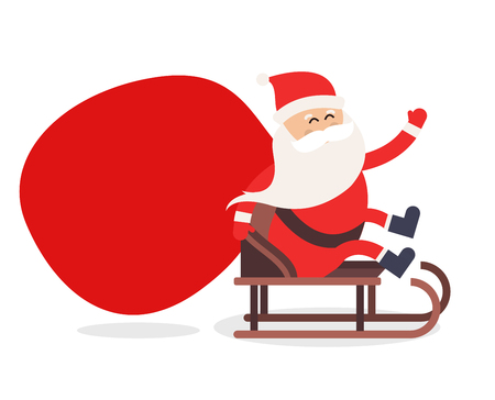 Cartoon Santa Claus gift zak levering illustratie. Kerstman rijden slee geïsoleerd. Kerstman cadeau zak vector, Santa doek, Santa rode hoed, santa slee. Kerstman vector cartoon cadeau zak