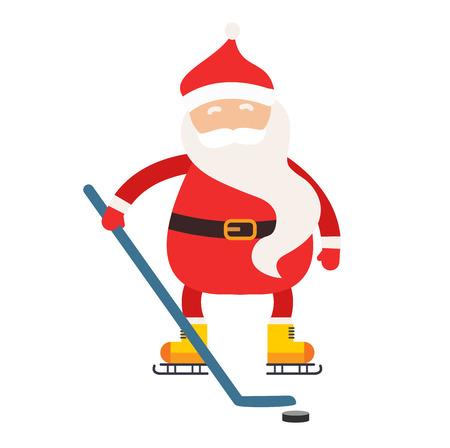 hockey stick: Cartoon Santa winter sport illustration. Santa Claus hockey stick isolated illustration. Winter sport games. Santa healthy, Santa cloth, Santa red hat, Santa shinny. Santa Claus vector sportsman Illustration
