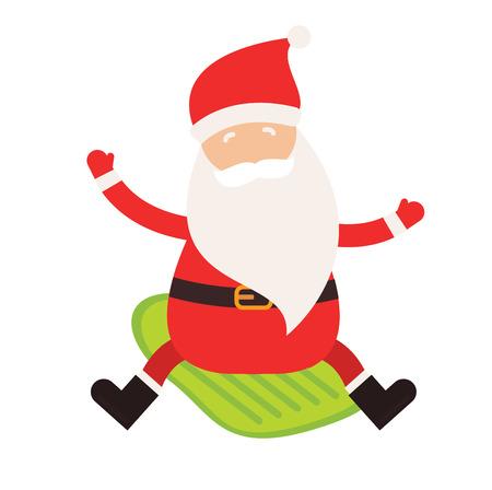 skier jumping: Cartoon extreme Santa winter sport illustration. Santa Claus winter sport isolated on white. Winter sport collection. Santa healthy, Santa cloth, Santa red hat, Santa sledge. Santa Claus vector people Illustration