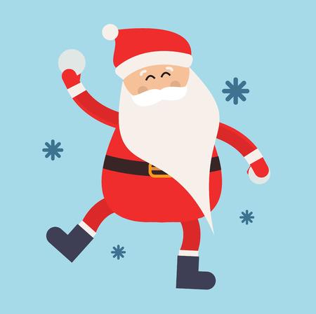 boule de neige: P�re No�l Cartoon boule de neige jeu hiver illustration. P�re No�l sports d'hiver boules de neige. Hiver jeux actifs. P�re No�l en bonne sant�, Santa jeu Santa chapeau rouge, boules de neige de Santa. P�re No�l boule de neige jouer