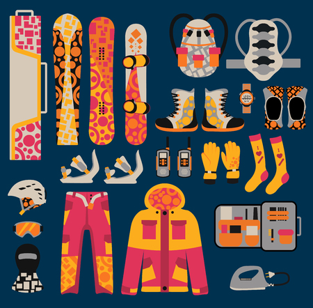 snowboard: Snowboard sport clothes and tools elements. Snowboarding elements isolated on white background. Snowboard vector cloth, snowboard jacket, snowboard board. Snowboard winter sport equipment. Snow board