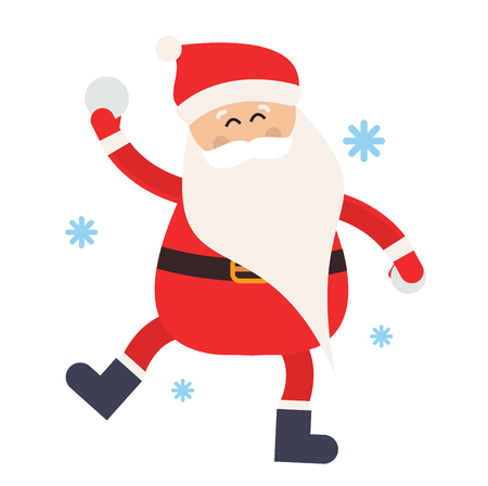 snowball: Cartoon Santa snowball game winter illustration. Santa Claus winter sport snow balls. Winter active games. Santa healthy, Santa game, Santa red hat, Santa snowballs. Santa Claus playing snowball Illustration