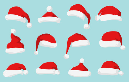 isolated on white: Santa Claus red hat silhouette. Santa hat, Santa red hat isolated on background. Santa hat. New Year 2016 santa red hat. Santa head hat vector. Santa Christmas hat decoration. Santa face hat vector