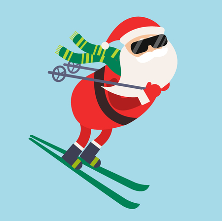 Cartoon Santa winter sport illustration. Santa Claus ski run competition illustration. Winter sport games. Santa healthy lifestyle, Santa cloth, Santa red hat, Santa ski. Santa Claus vector sportsman Vettoriali