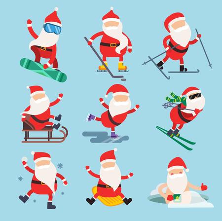 narciarz: Cartoon Święty ekstremalne sporty zimowe ilustracji. Mikołaj sporty zimowe na białym. Zimowa kolekcja sportu. Święty zdrowe, Santa tkaniny, Santa czerwony kapelusz Santa sanki. Mikołaj wektor ludzi Ilustracja