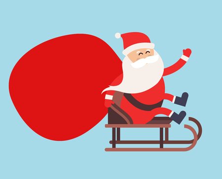 santa claus hats: Cartoon Santa Claus gift sack delivery illustration. Santa Claus drive sled isolated. Santa gift sack vector, Santa cloth, Santa red hat, Santa sledge. Santa Claus vector cartoon gift sack