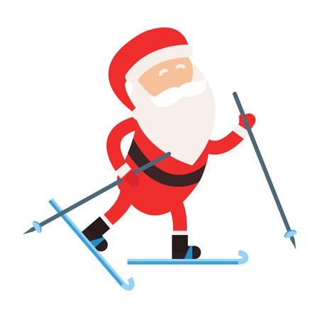 skier jumping: Cartoon Santa winter sport illustration. Santa Claus ski run competition illustration. Winter sport games. Santa healthy lifestyle, Santa cloth, Santa red hat, Santa ski. Santa Claus vector sportsman Illustration
