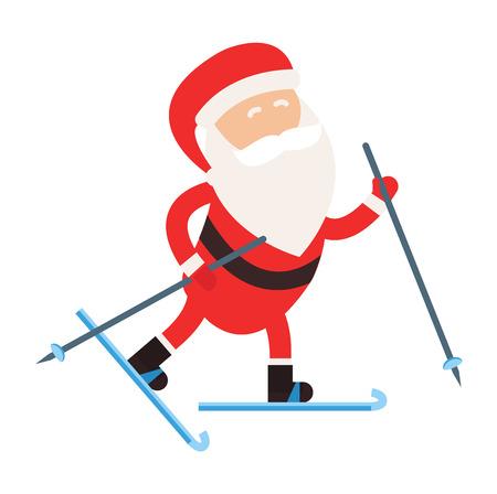 narciarz: Cartoon Santa winter sport illustration. Santa Claus ski run competition illustration. Winter sport games. Santa healthy lifestyle, Santa cloth, Santa red hat, Santa ski. Santa Claus vector sportsman Ilustracja