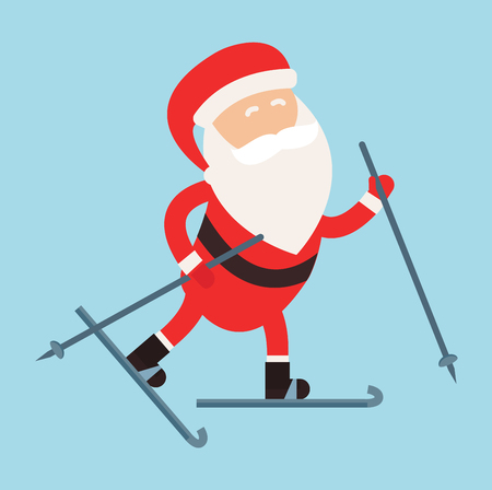SKI: Cartoon Santa winter sport illustration. Santa Claus ski run isolated illustration. Winter sport games. Santa healthy, Santa cloth, Santa red hat, Santa ski. Santa Claus vector sportsman