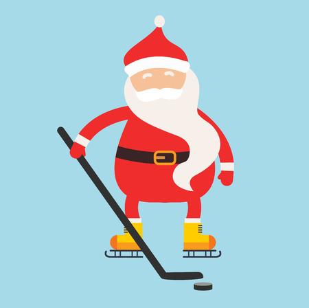 shinny: Cartoon Santa winter sport illustration. Santa Claus hockey stick isolated illustration. Winter sport games. Santa healthy, Santa cloth, Santa red hat, Santa shinny. Santa Claus vector sportsman Illustration
