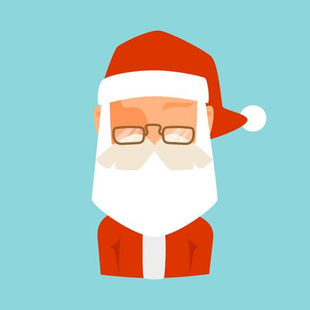 beard man: Santa Claus flat icon vector illustration.