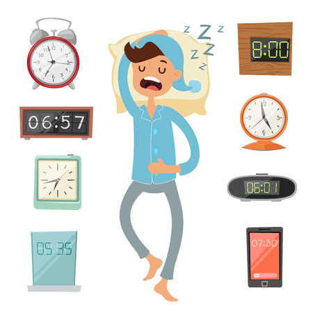 wake: Alarm clock and sleeping man vector illustration.
