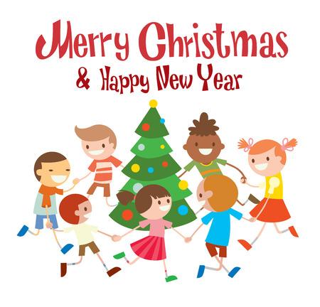 school friends: Children round dancing Christmas tree in baby club illustration.