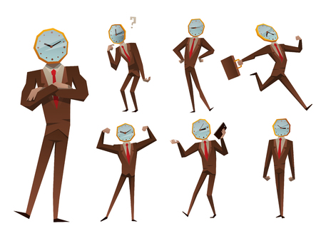 time: Businessman watch head vector illustration. Illustration